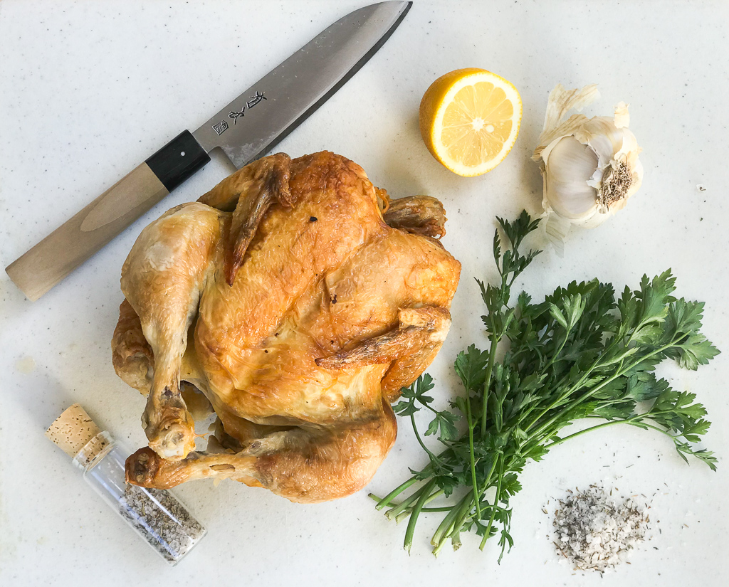 ROASTED CHICKEN  or a STORE BOUGHT ROTISSERIE CHICKEN  RECIPE OPTIONS: Grab and Go Chicken Salad, Roast Chicken Dinner, Chicken Noodle Soup, Chicken Bone Broth, Chicken Tzatziki Salad, Chicken Burrito Bowl.