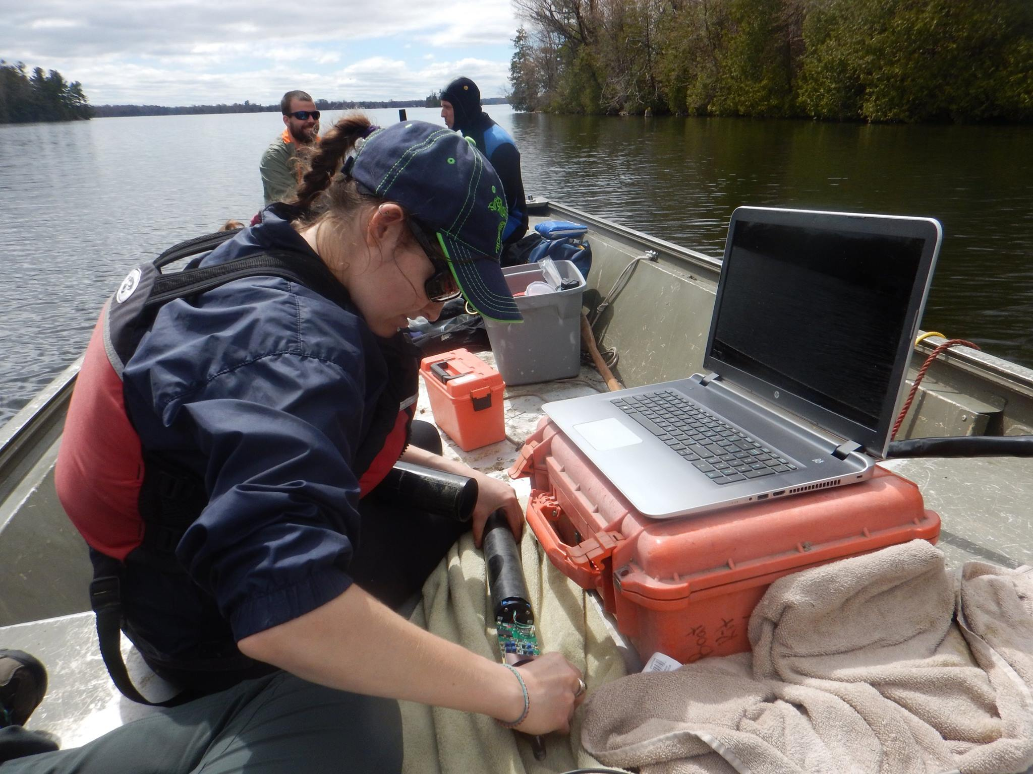 A day out on the lake deploying receivers.