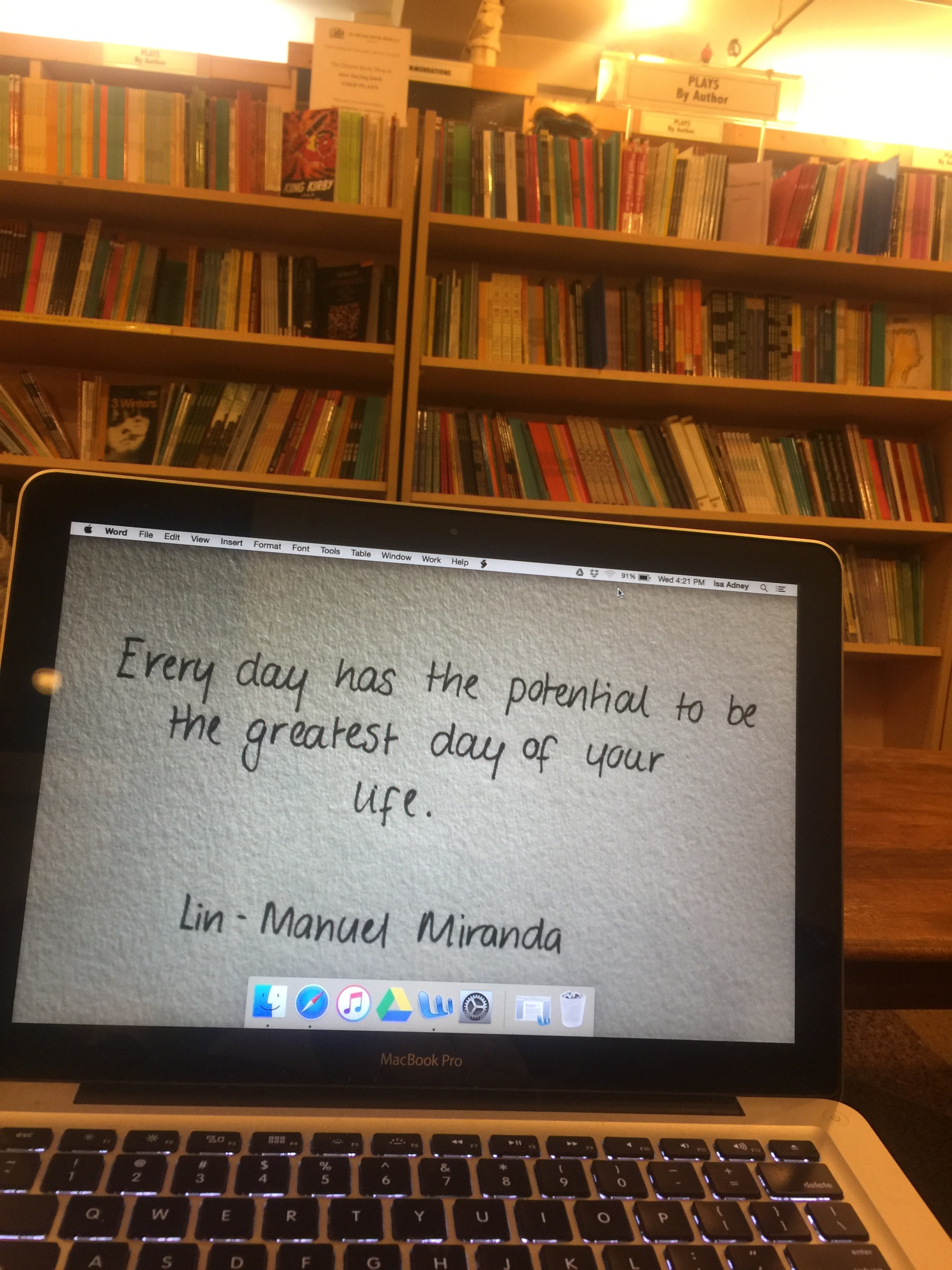 Writing from The Drama Bookshop.