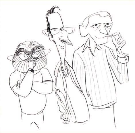 "The ""Three Amigos"": Ron, John, and Howard, as caricatured at the time by John."