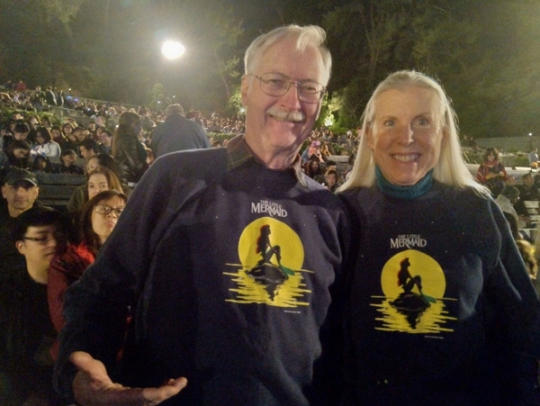 John and wife Gale attend the Little Mermaid live concert at the Hollywood Bowl.