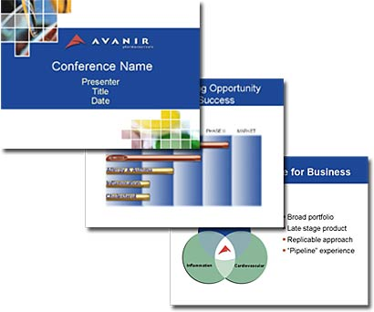 Avanir Pharma Shareholder Presentation     The Avanir corporate shareholder presentation goal was to simplify complex data and formulate a clear, concise message that was critical for Avanir in their fund raising efforts. Ultimately, they were acquired by AZUR Pharma with whom we continue an ongoing relationship.