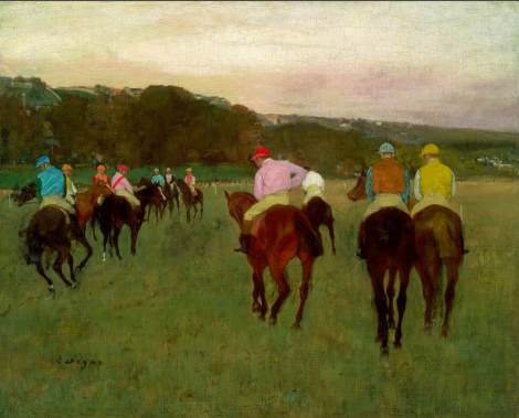 Edgar Degas, Racehorses at Longchamp, 1871, possibly reworked in 1874. Oil paint on canvas