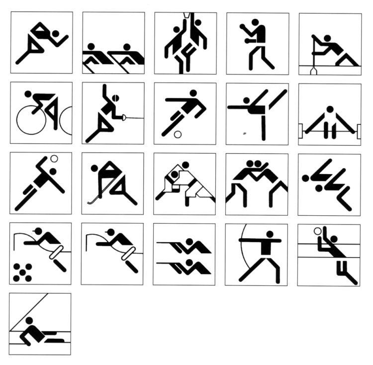 Pictograms for the Munich 1972 Olympics, designed by Otl Aicher. Source: olympic-museum.de