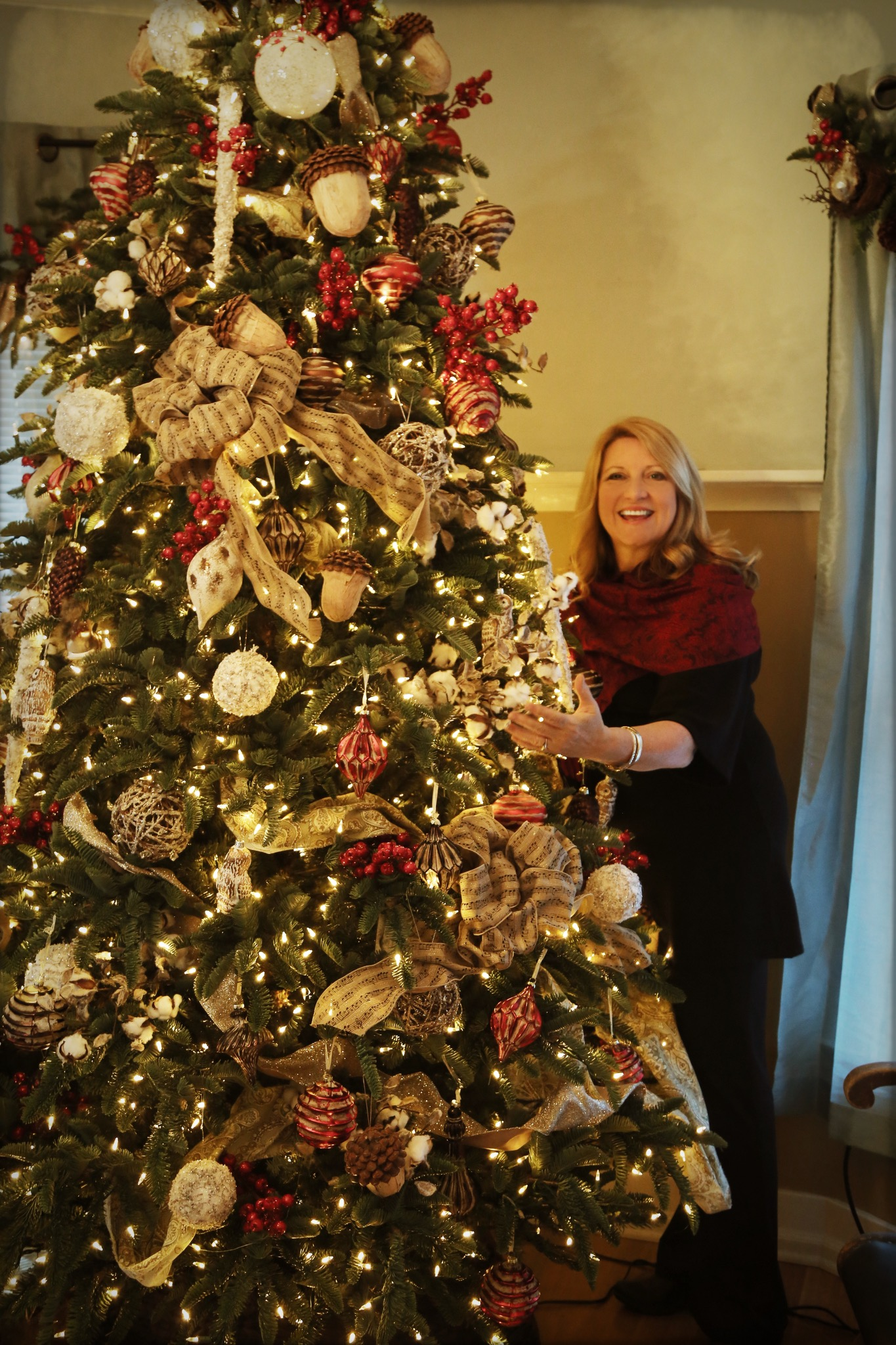 """My gorgeous  Noble Fir  with sturdy boughs, beautiful birdies, ornaments galore and special musical note bows, because... """"Queen of Sappy Love Songs!"""""""