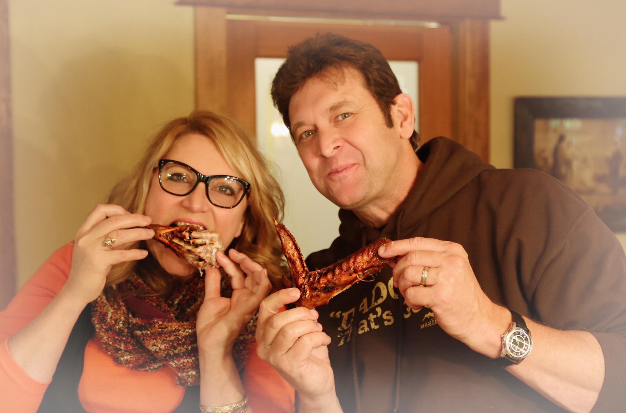Me and Mr. Masterbuilt, John McLemore enjoying some deep-fried turkey! Mmmmmm...