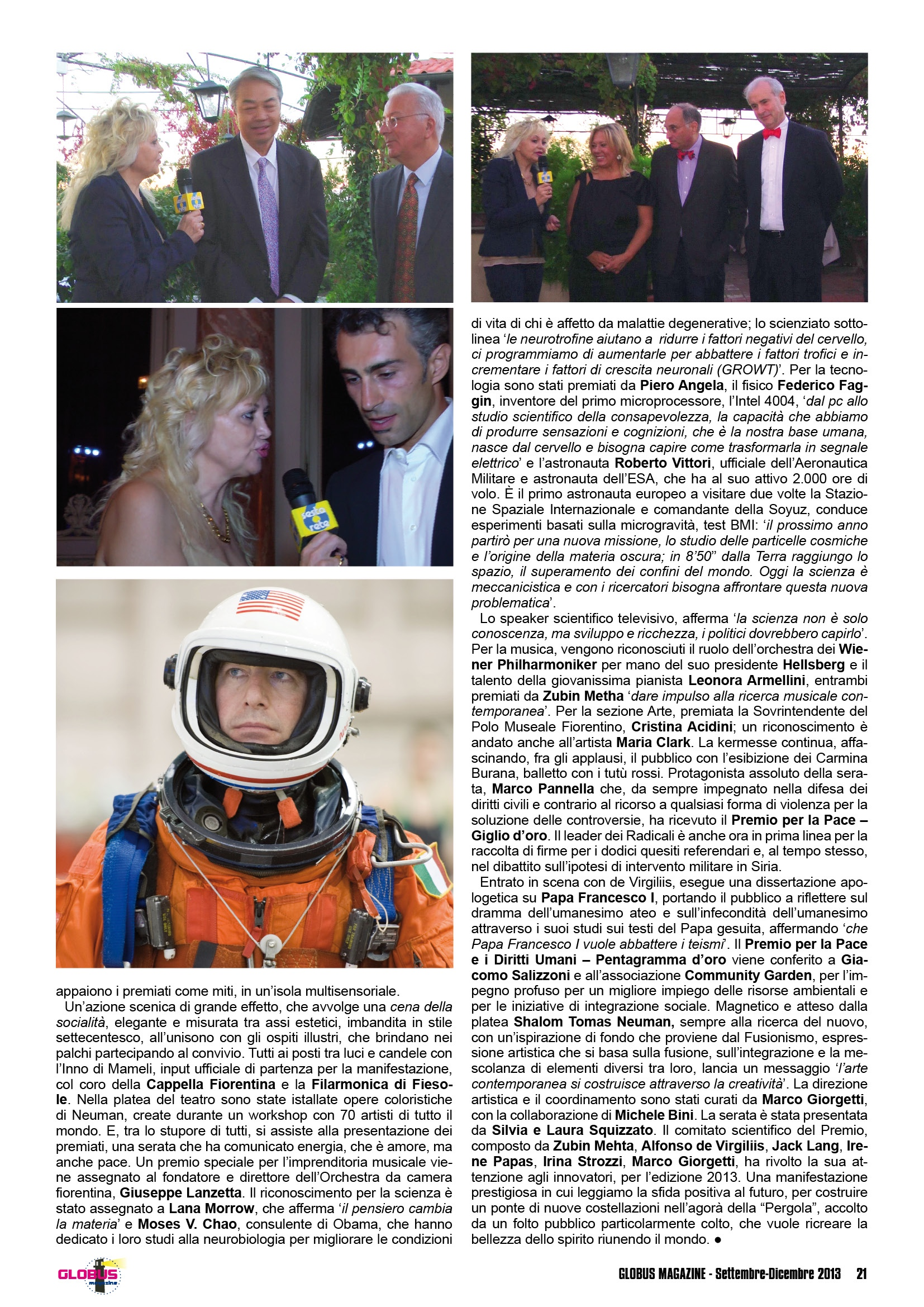 Dr. Lana Morrow and Dr. Moses Chao featured in Italian article on the Galileo2000 Award