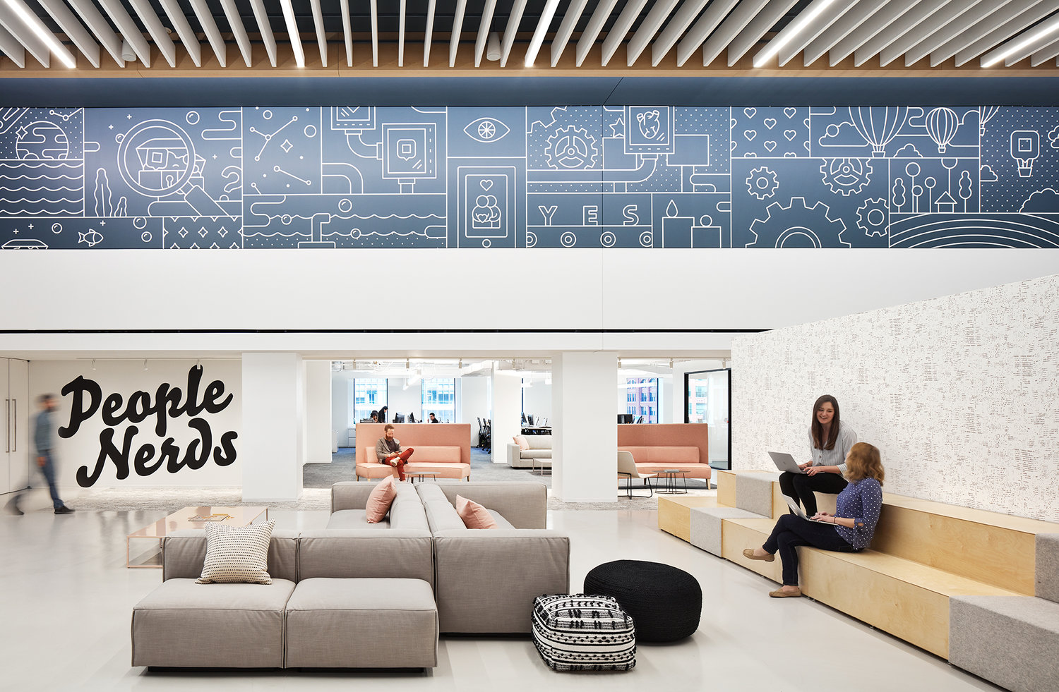 One of two 65 ft wall decals designed for dscout's new home atrium space. Photo by Kendall McCaugherty at Hall + Merrick Photographers.