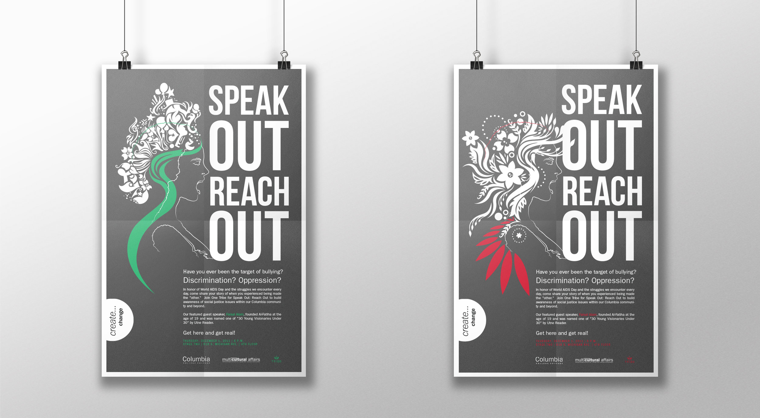 """Posters for the """"Speak Out Reach Out"""" Event."""