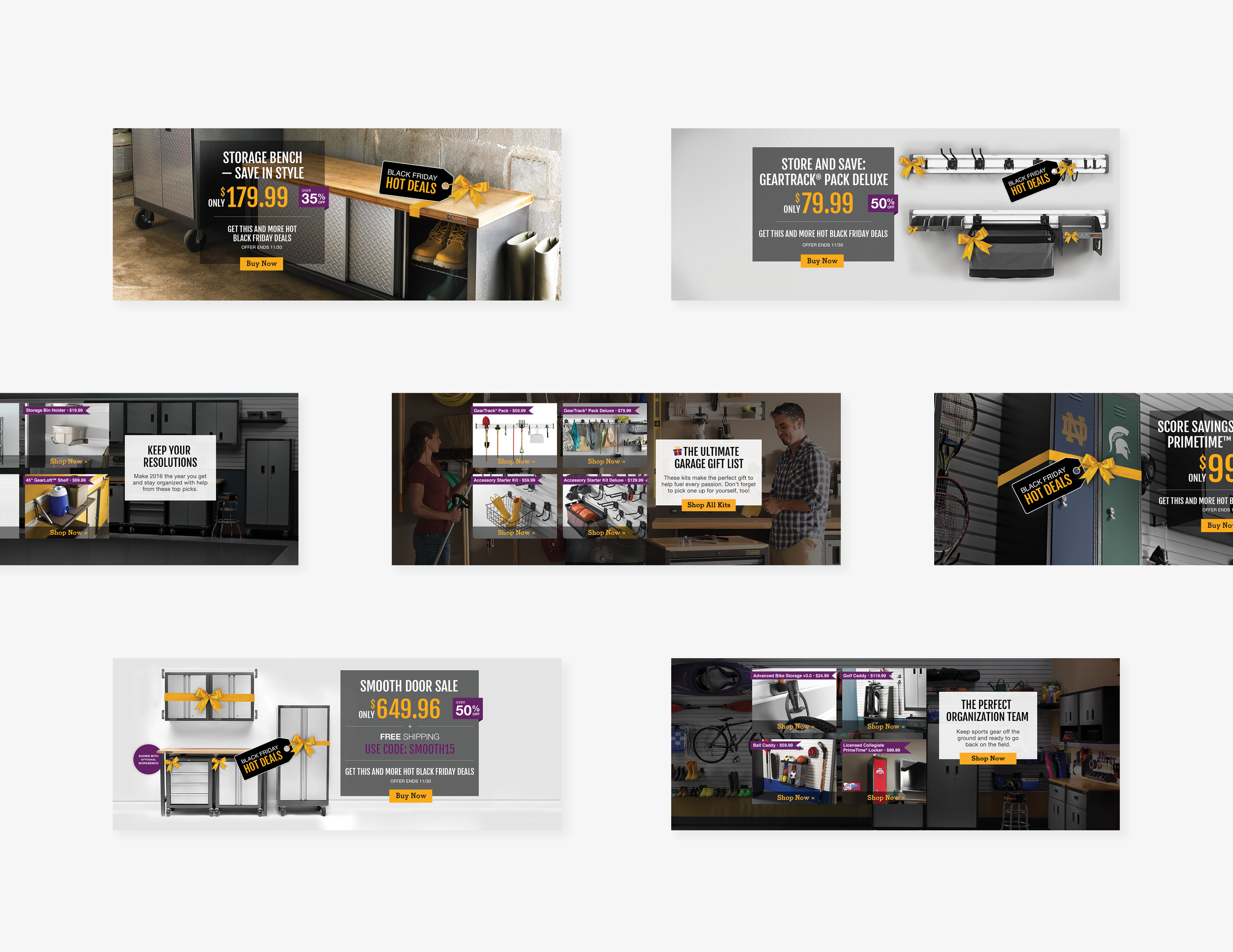 Monthly digital promotional banners.