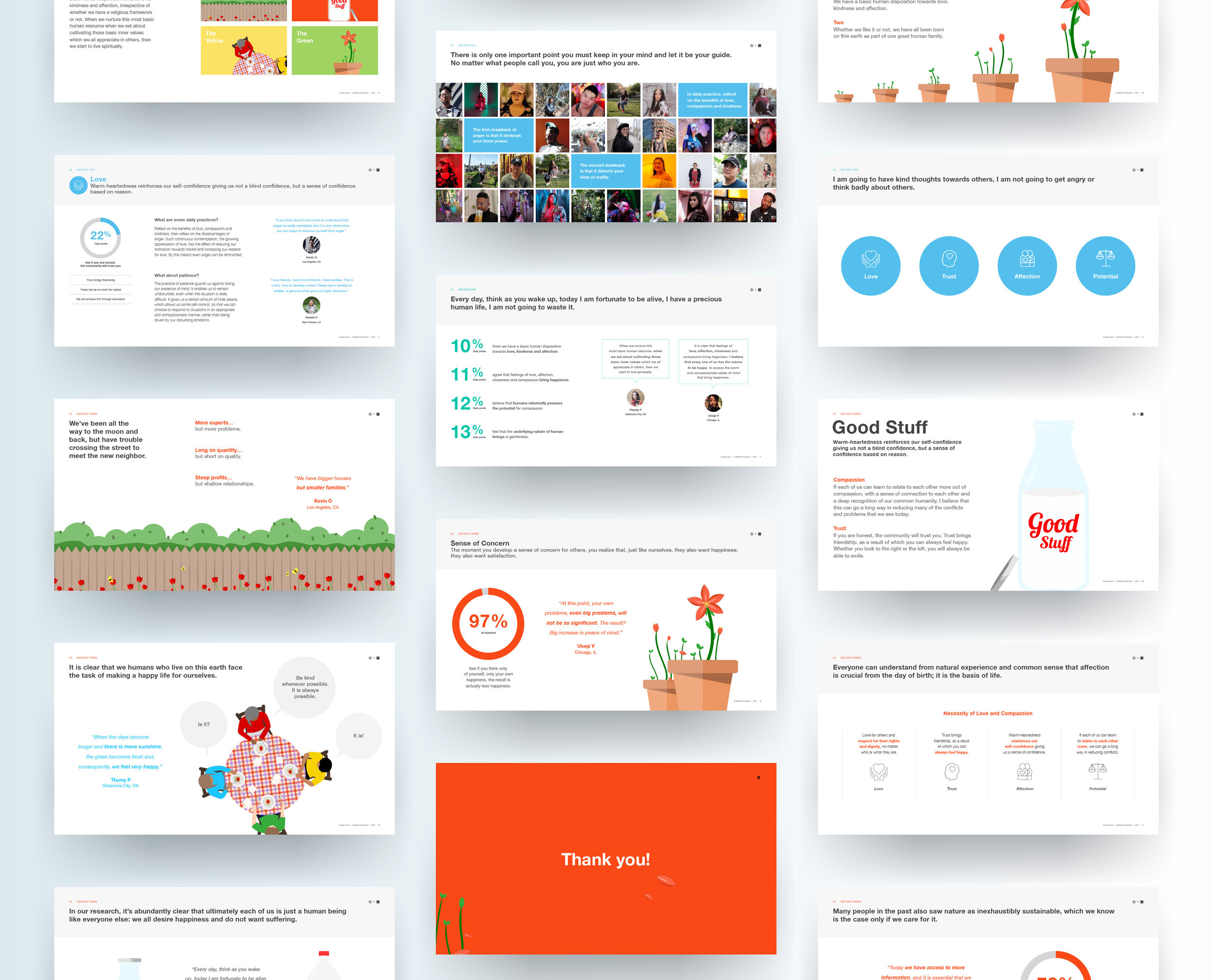 Presentation layout designs, illustrations, and iconography.