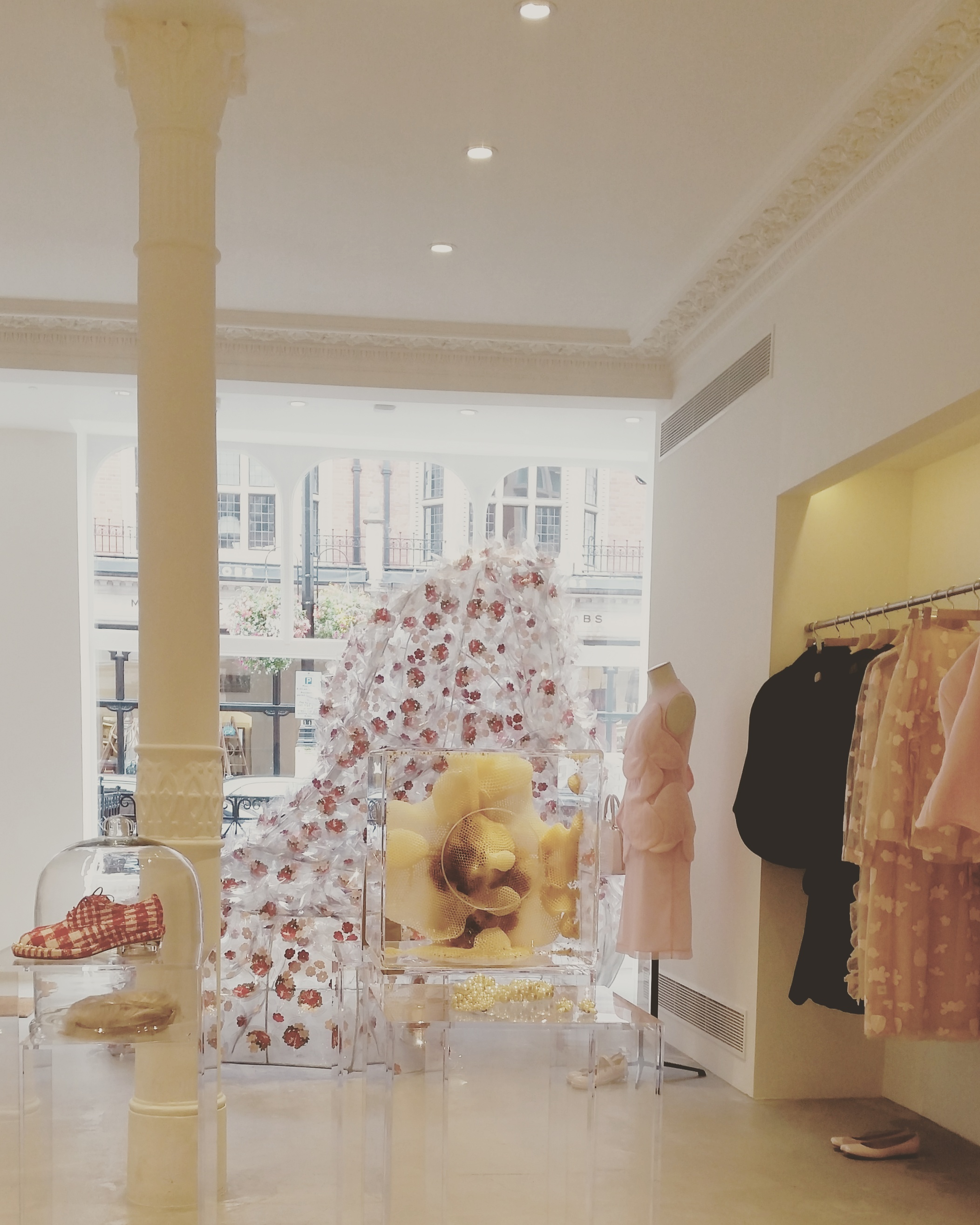 Simone Rocha's first shop: 93 Mount Street, London, W1K 2SY // The window sculpture is a collaboration between Simone Rocha and artist Janina Pedan