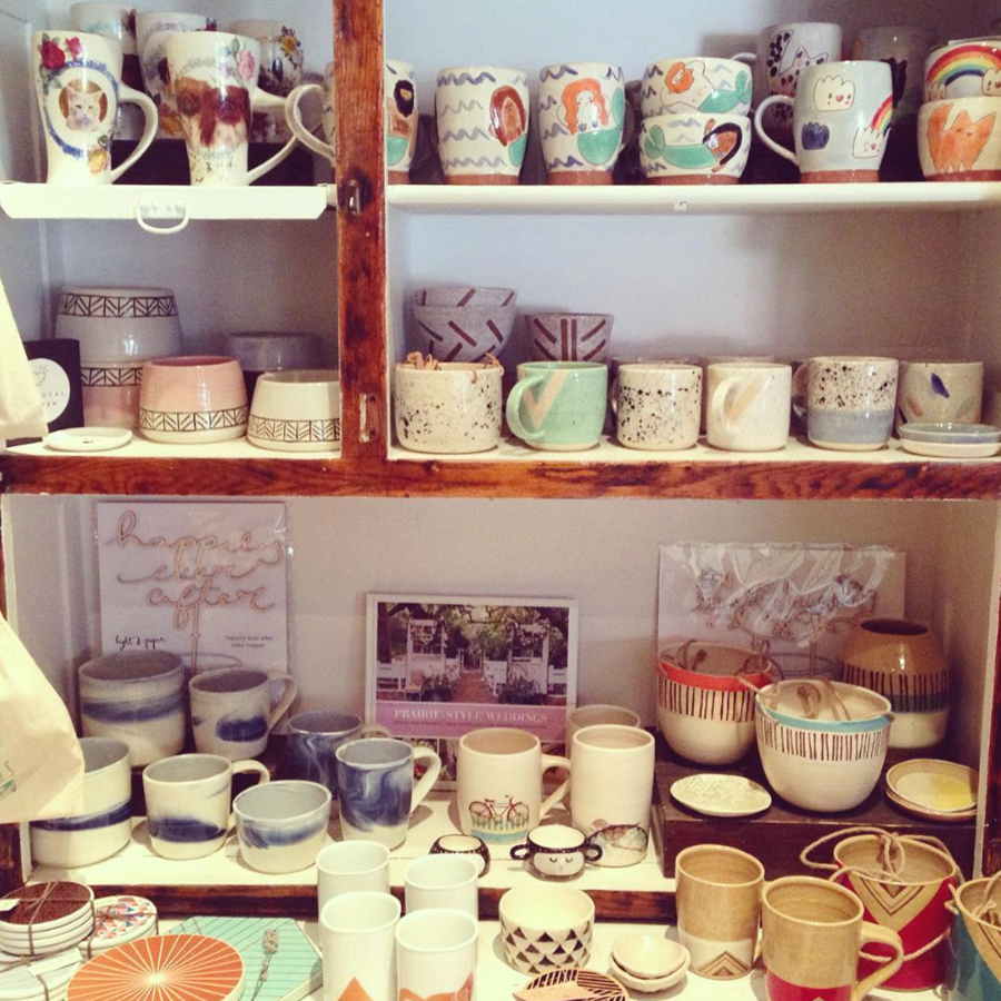 Ceramic collection at Scout by multiple artisans.