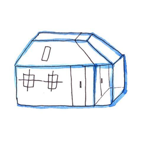 The little blue building, Merge.