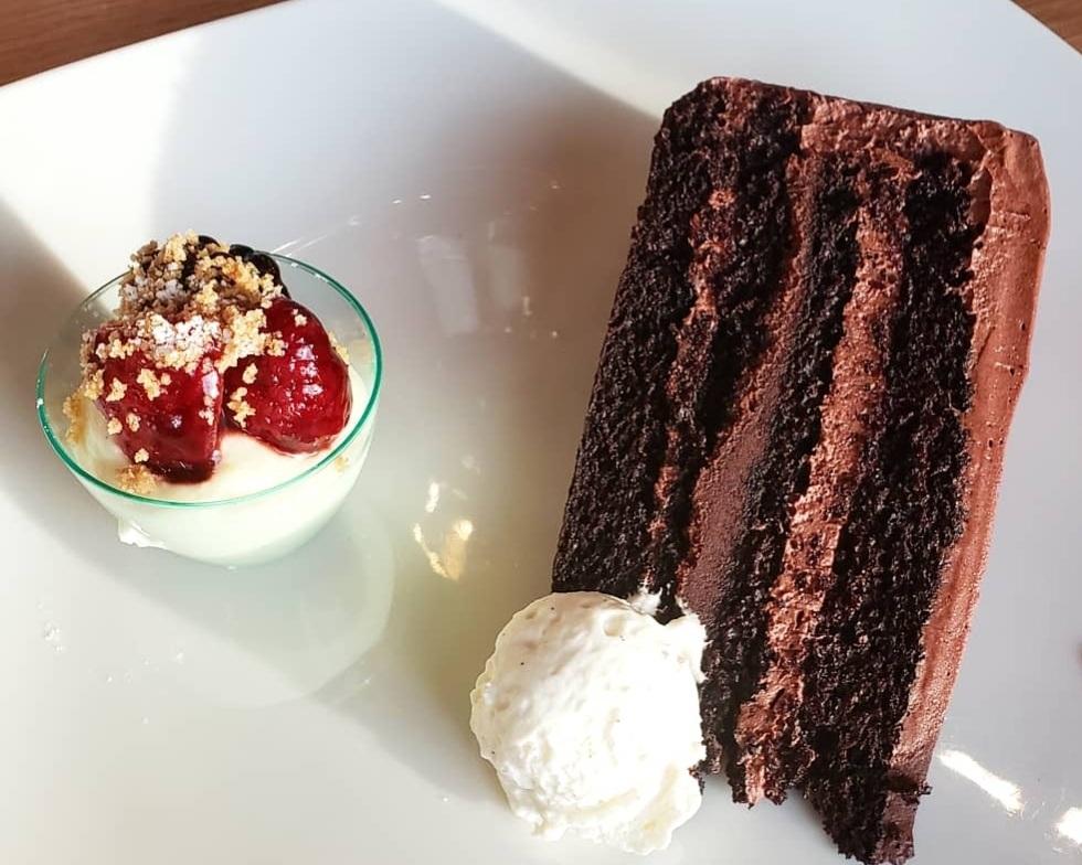 Cooper's Hawk Chocolate Cake and Ice Wine Cheesecake