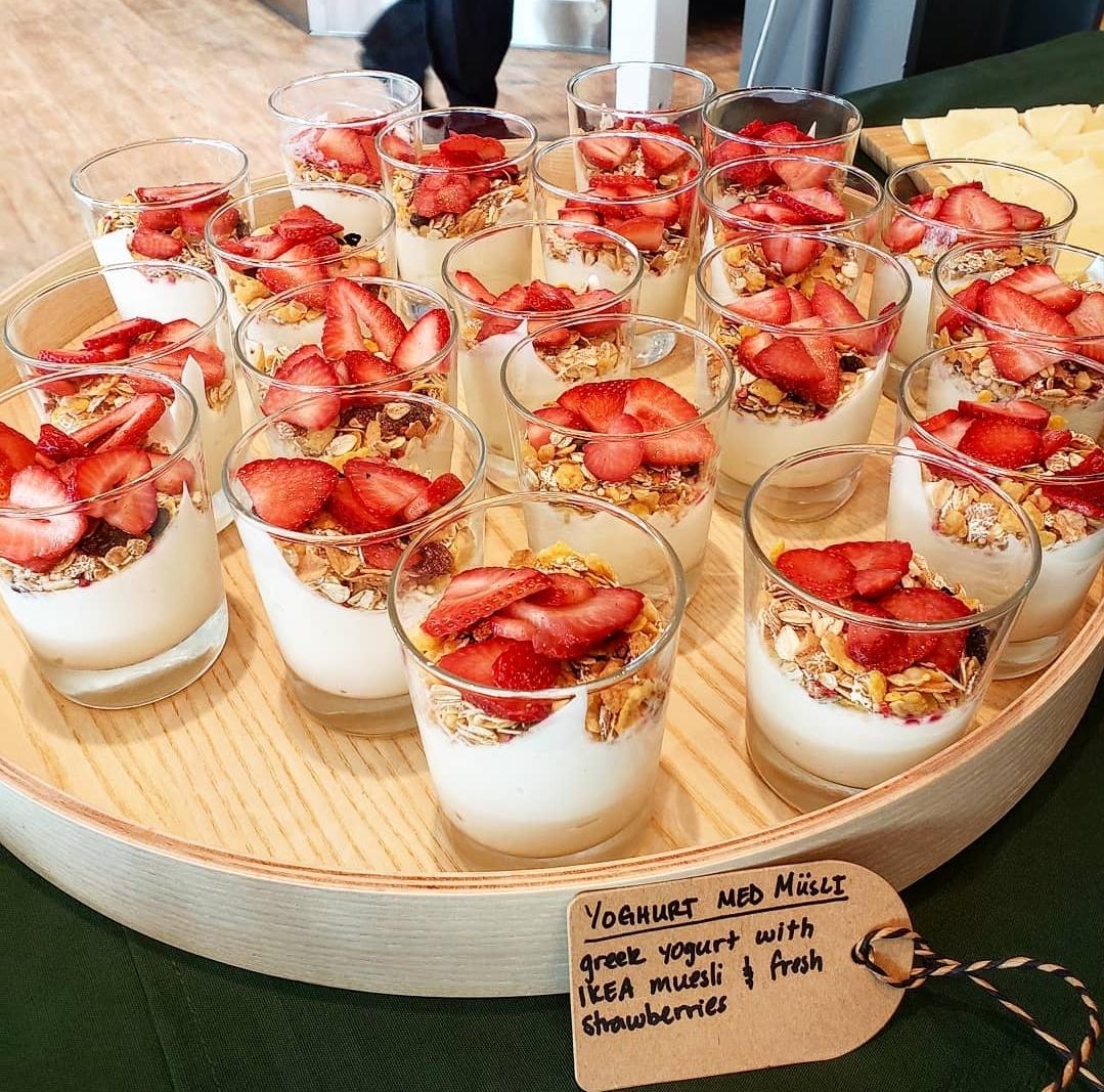 Yoghurt and Musli  Greek yogurt with muesli and strawberries