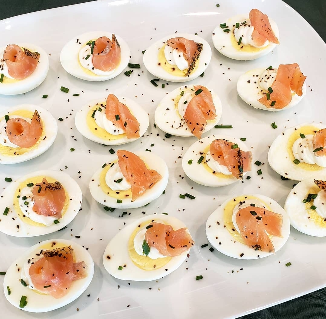 Agg Med Lax: Harboiled egg topped with mayo and cold smoked marinated salmon