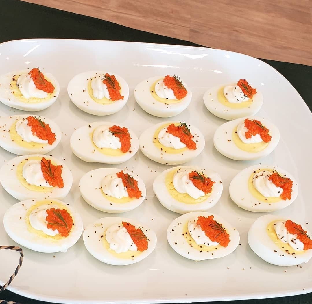 Agg Med Tang Roe: Hardboiled egg topped with mayo and seaweed pearls