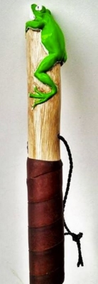 tree frog and leather wrap handle