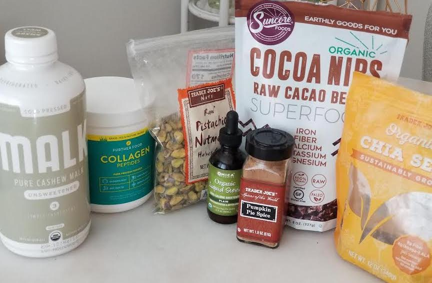 ALL OF YOUR INGREDIENTS: CASHEW MILK, COLLAGEN PROTEIN, CHIA SEEDS, STEVIA, PUMPKIN PIE SPICE AND TOPPINGS!