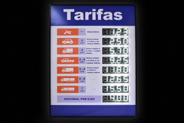 Cartel de precios - Peajes