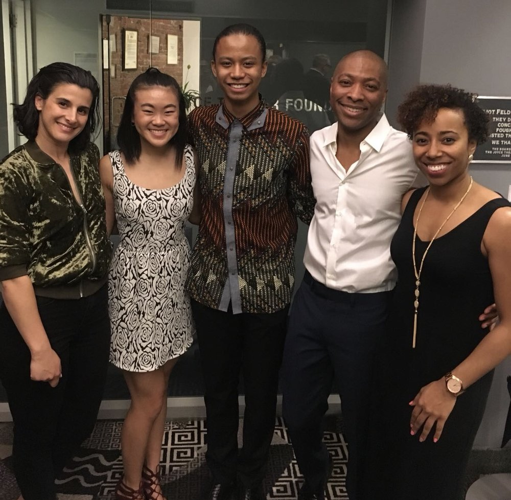 Left to Right: Andrea Miller, Artistic Director of Gallim Dance; Olivia Wang, Young Professional; Nouhoum Koita, Young Professional; Kyle Abraham, Artistic Director of A.I.M.; Chanel DaSilva, Co-Founder & Artistic Director,    MOVE(NYC)