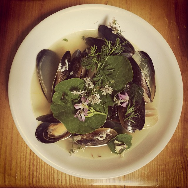 Dover Bay Mussels, Pagan Cider, Twelve Tree Farm herbs #theriverstable #pantreeproduce
