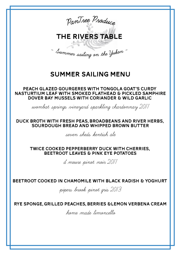 Last week's menu by chef Asher Gilding, summer solstice sailing on Sunday the 21st December. We only have a couple of spots left for this coming weekend's special twilight sail on Sunday the 28th December, check out our events page for more details and booking info.