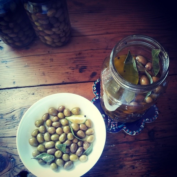 Our very own home grown olives from 2012, Marg' bay leaves & lemons in olive oil. Getting ready for a wedding at Police Point in the deep south of the Huon Valley. It's beautiful being able to share home grown produce with happy lovers in the Valley! #pantreeproducecatering