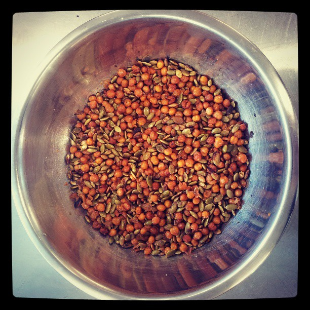 Crunchy organic chickpea & pepitas for our pumpkin dish #pantreeproducecatering