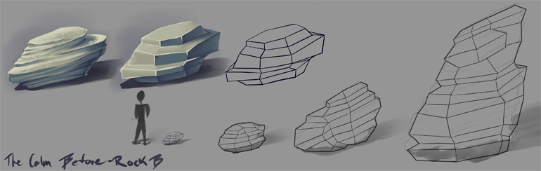 Comparing sandstone layering to a simplified and stylized look relying on plane details in the models.