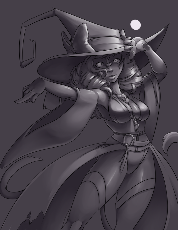 Cat Witch, Value Study