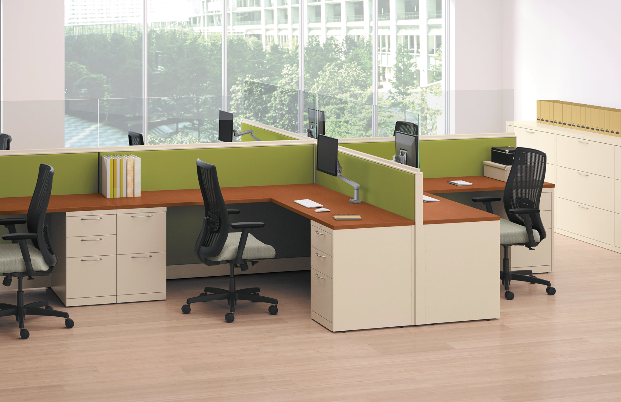 HON Accelerate System with Frameless Glass