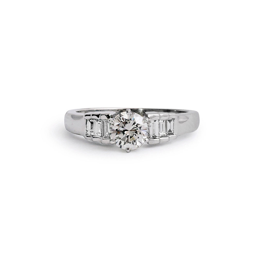 Jewelry By Marsha Round Brilliant Engagement Ring With Tapered Baguettes