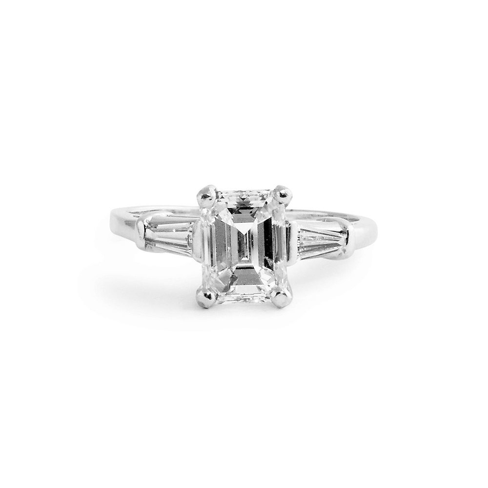 Jewelry By Marsha Emerald Cut Engagement Ring With Baguettes