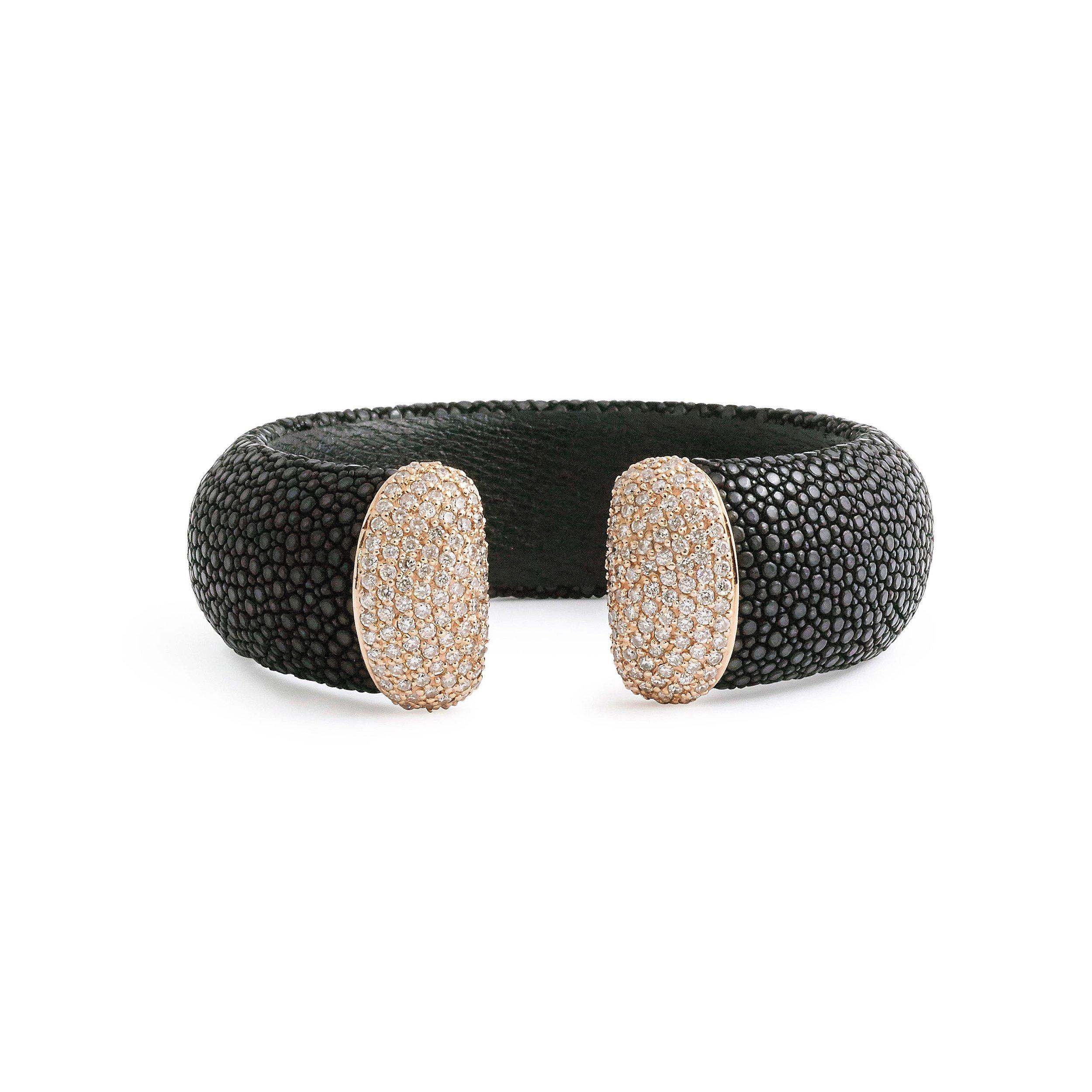 Black Stingray Leather And Diamond Cuff