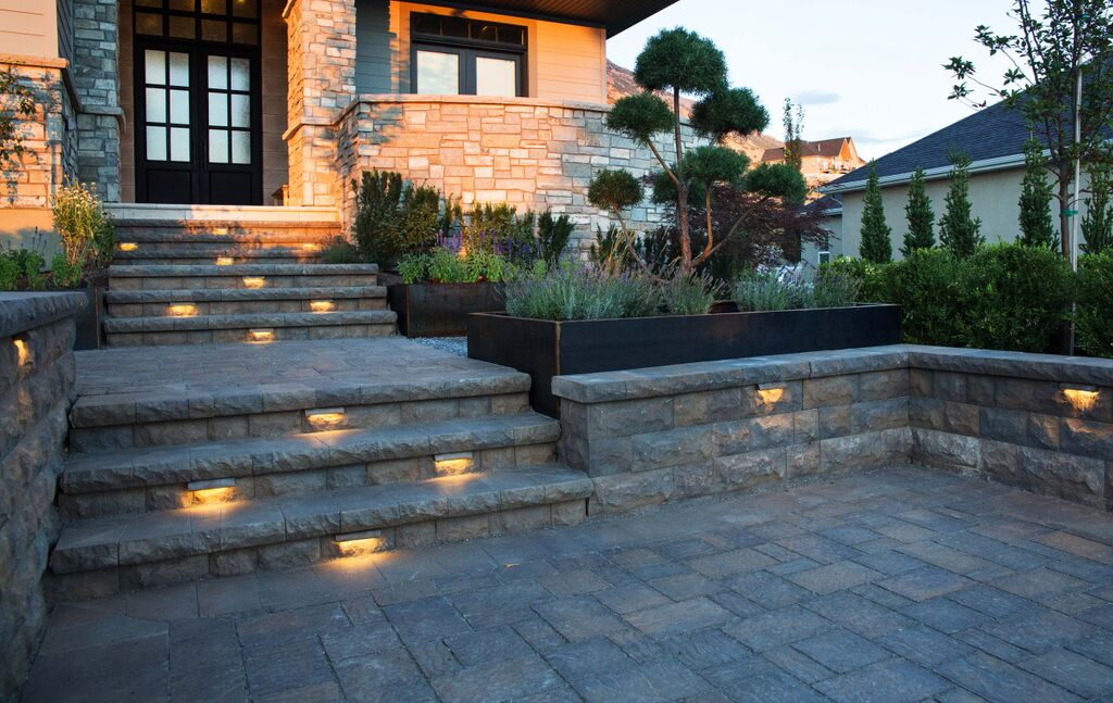 Paver walls and steps with garden lighting