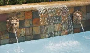 Swimming pool water feature.