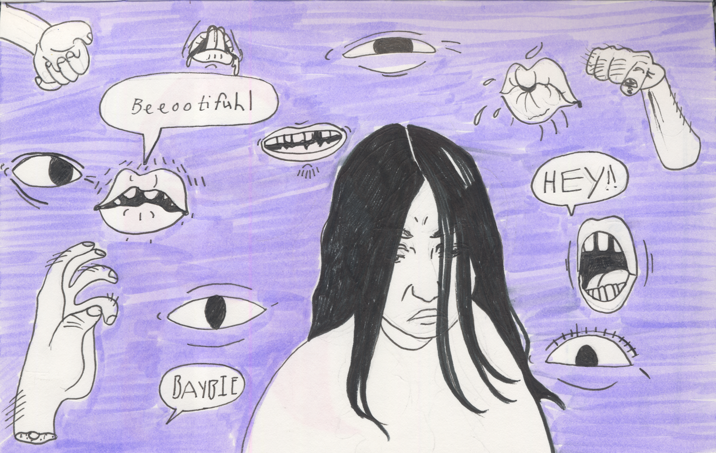 Sketch for a news story header about cat calling.