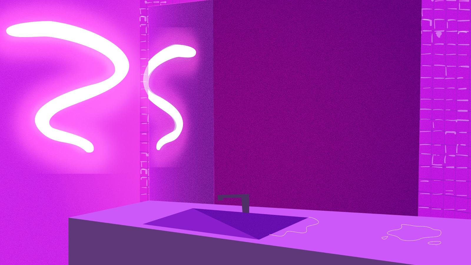 Neon Bathroom