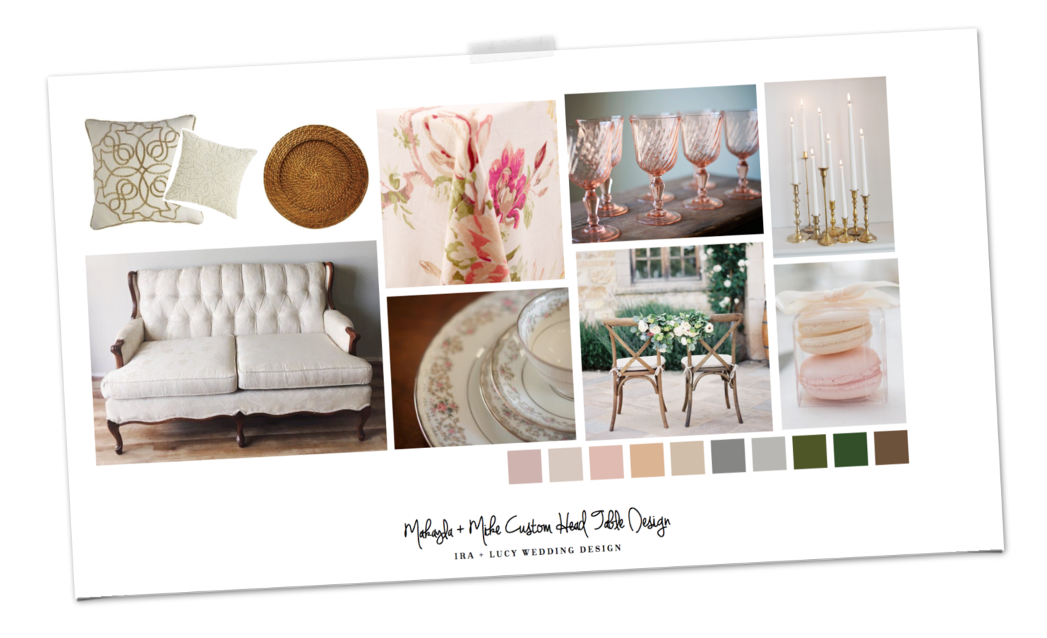 """As part of our """"Enhanced Day of"""" Package we provide design assistant to three selected areas of the couples' choice. Makayla and Mike asked for special attention for their Head Bridal Party Table, The Ceremony Alter and the Cake Feature.   Below is a snippet from the Custom Design Boards we created for the Head Table concept, featuring a romantic floral print linen from La Tavola Fine Linen, pulling in the blush tones from the wedding color palette. The Bride and Groom sat in our """"Kelli Jean"""" french victorian settee for their special seating and the rest of the wedding party looked lovely in the cross back chairs we sourced from Tates. Each place setting had our Honey Harvest rattan charger and a blush napkin. French vintage blush stemware added some whimsy and antique brass candlesticks and candles set the tone for a dreamy garden tablescape. The floral design by Lemon Blossom Designs was stunning!!!! Those peonies were quite the statement and so dreamy! I finished the settings by adding classic china with blush accents for the Bride and Groom place settings."""