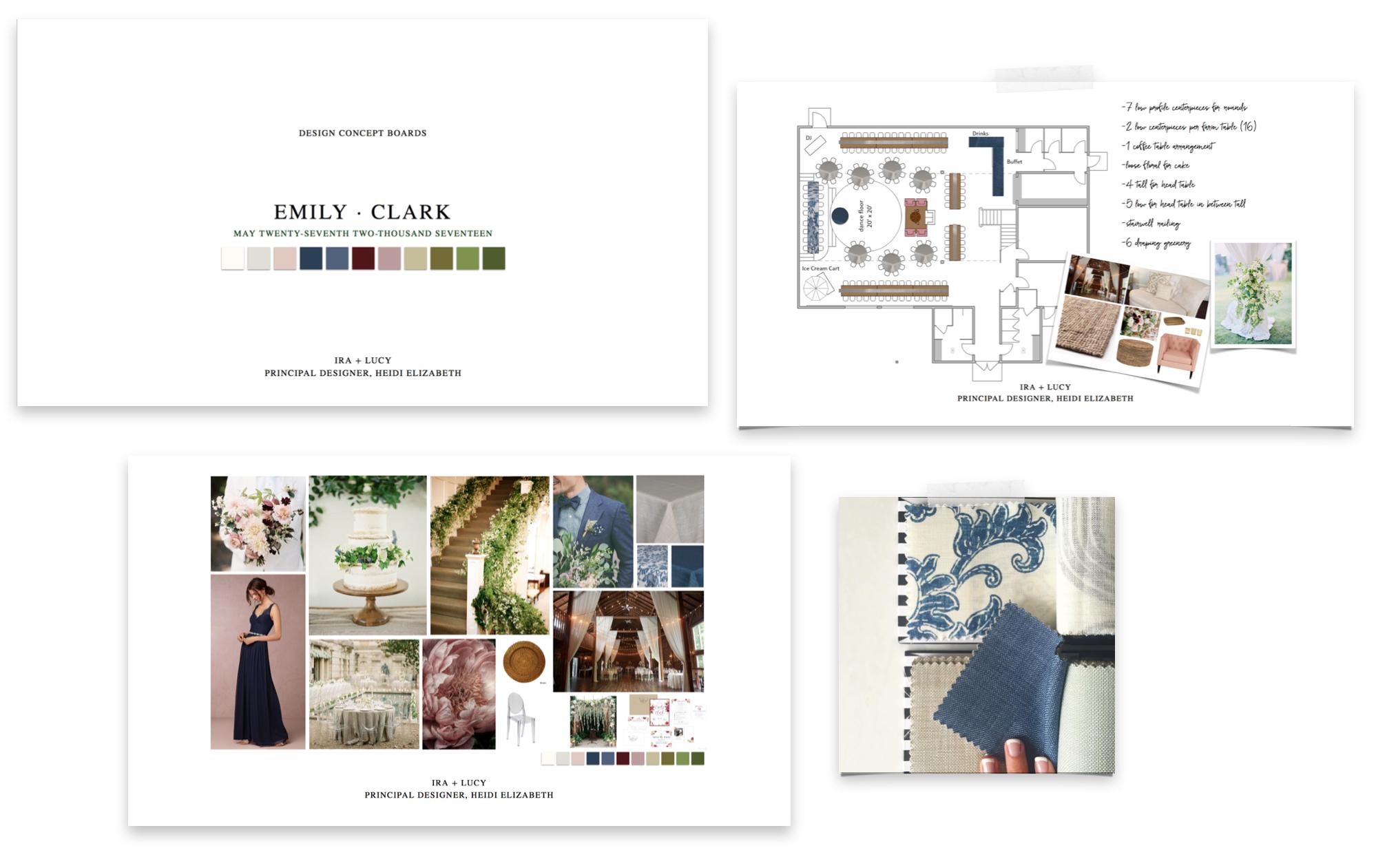 Ira and Lucy Wedding Planner, Custom Design Boards