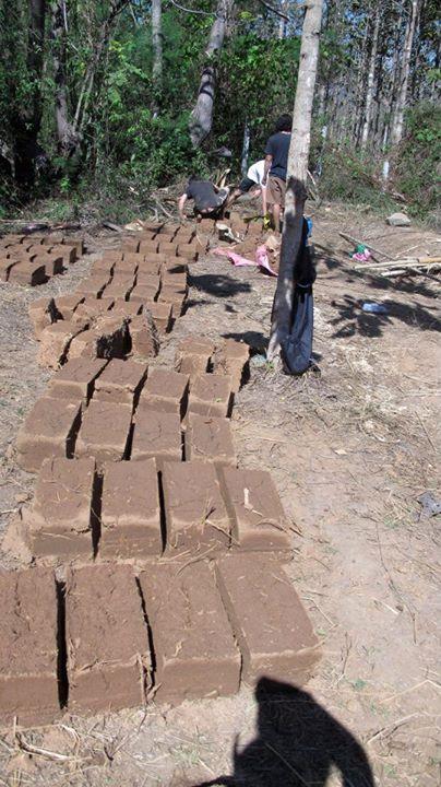 Mud brick preparation for mud house building