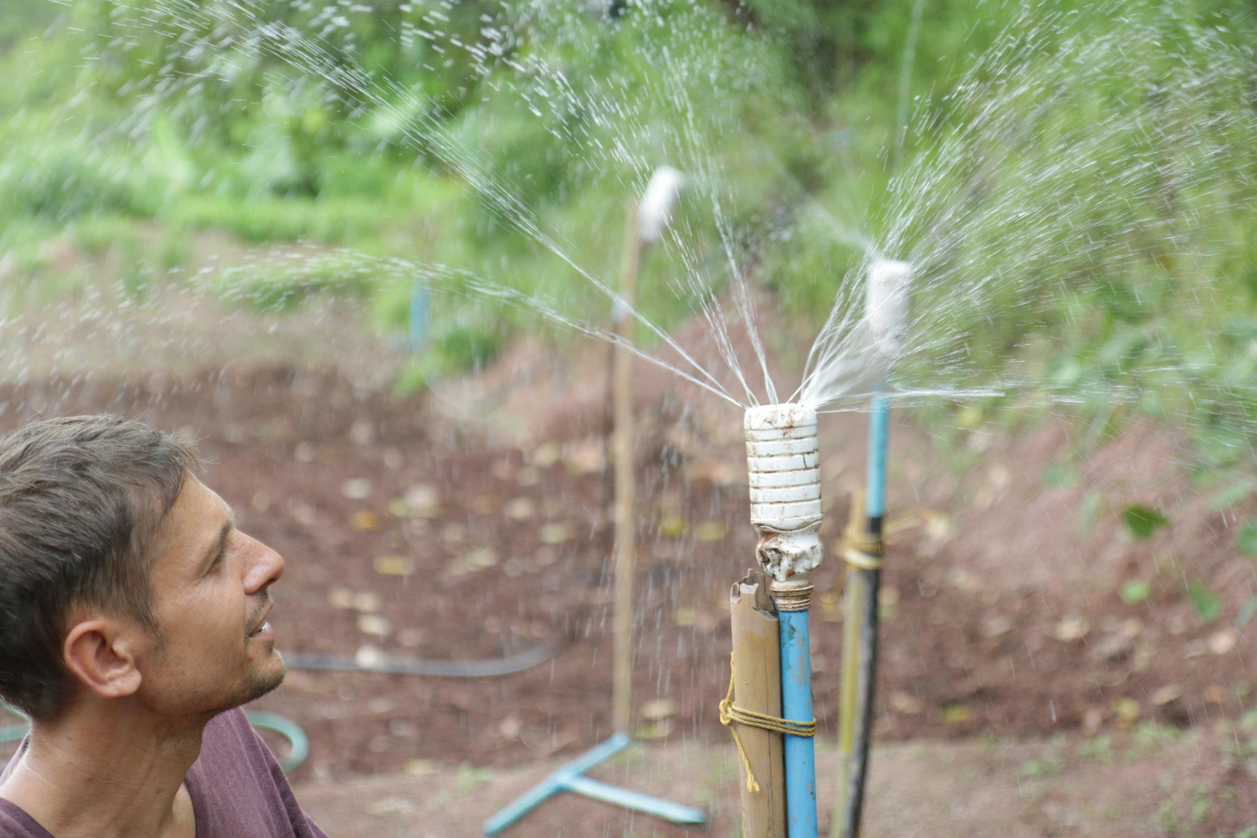 DIY water sprinkle for gardens