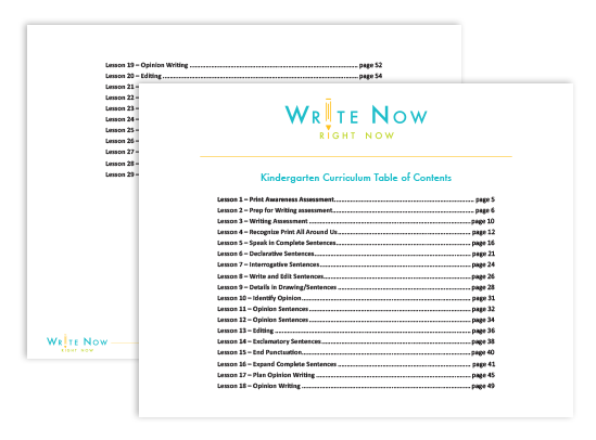 Kindergarten Table of Contents by Write Now Right Now