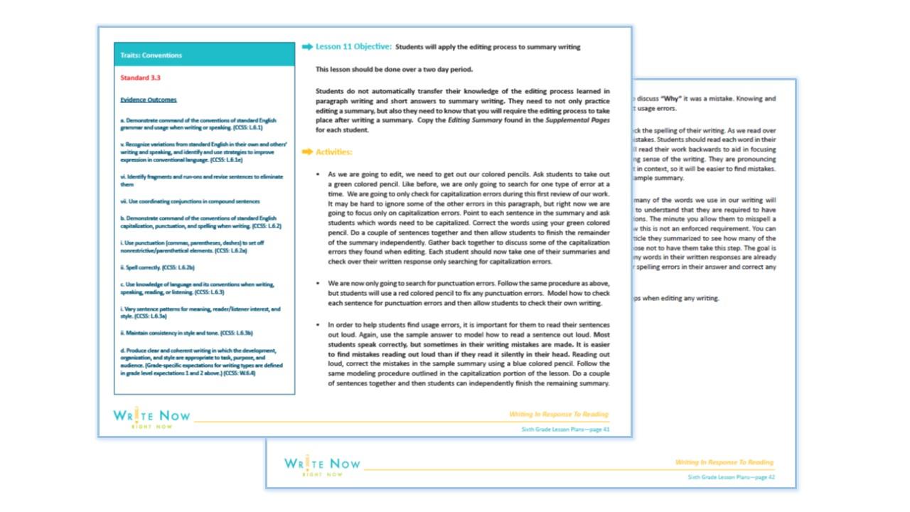 SIXTH GRADE WRITING IN RESPONSE TO READING PROGRAM SAMPLE