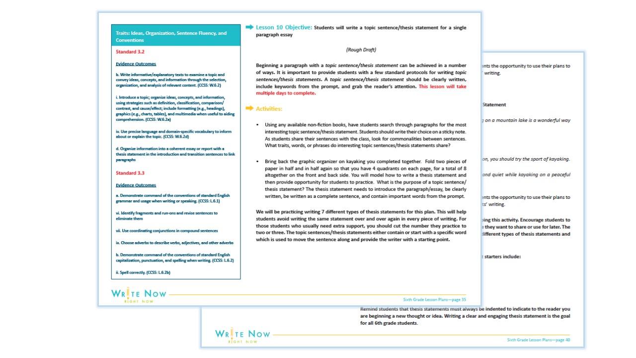 SIXTH GRADE WRITING PROGRAM SAMPLE
