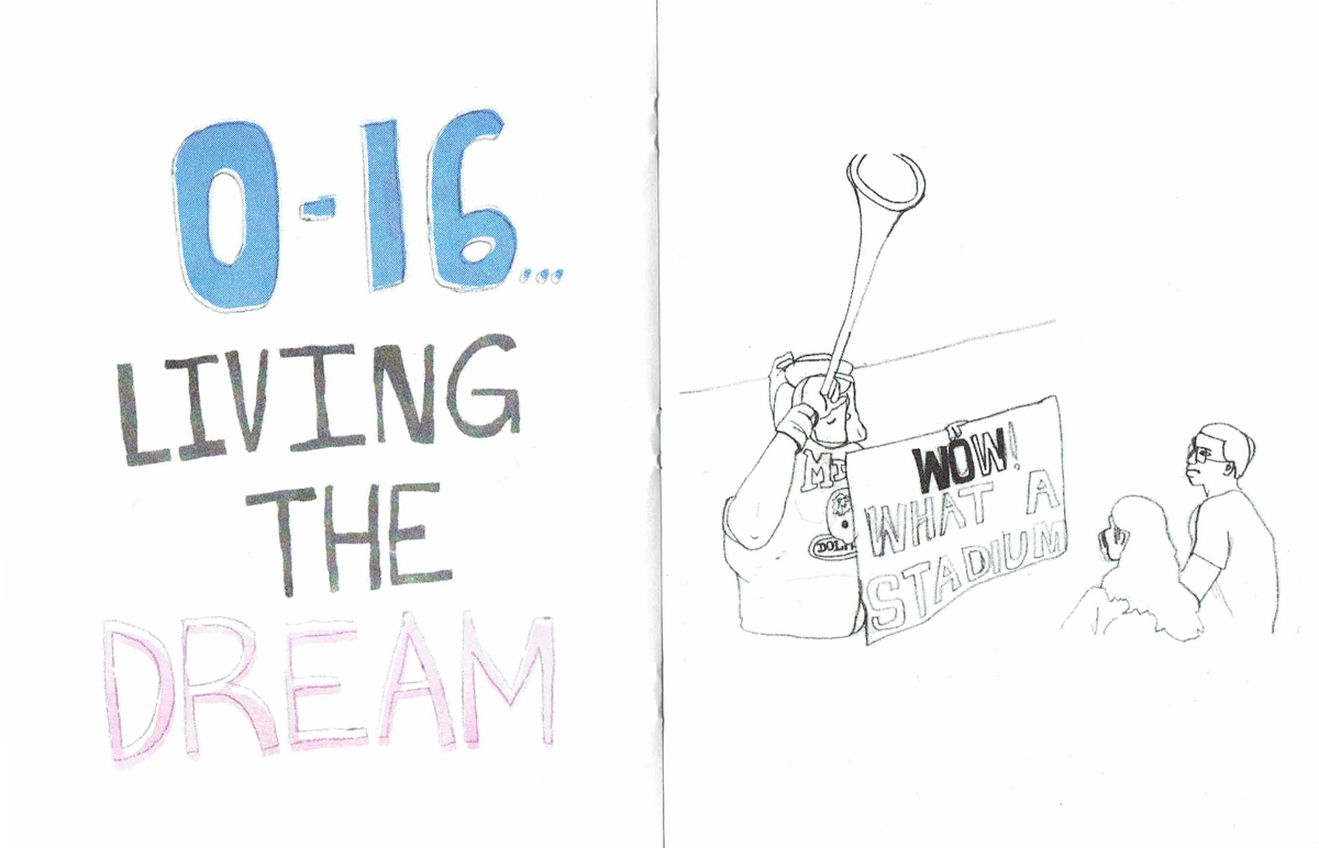 """""""Living the Dream"""" and """"What a Stadium"""" from SPRTS Issue #7, curated by Breanne Trammell; printed and published by ENDLESS EDITIONS"""