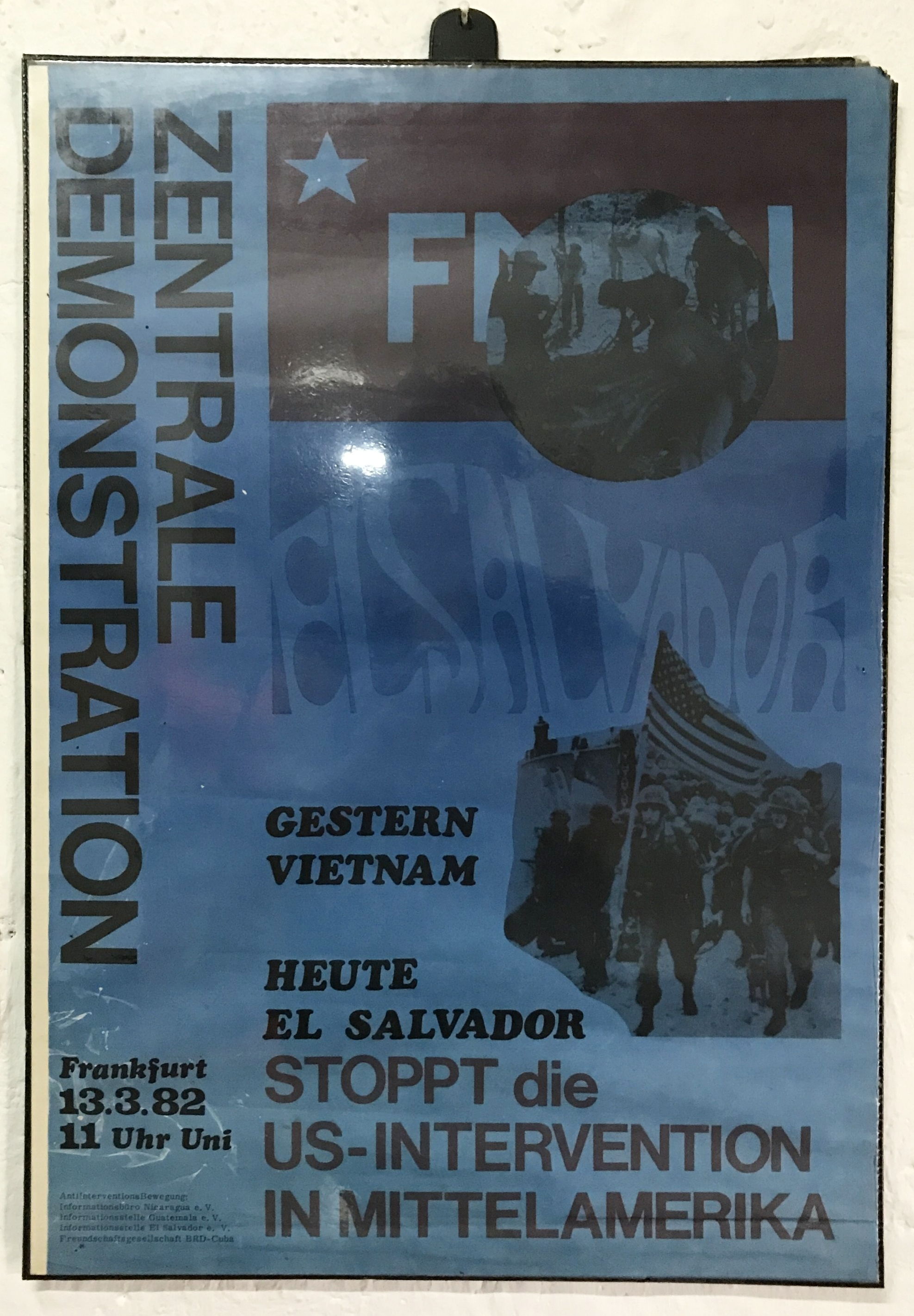 German protest poster comparing USA intervention in El Salvador to the Vietnam war.