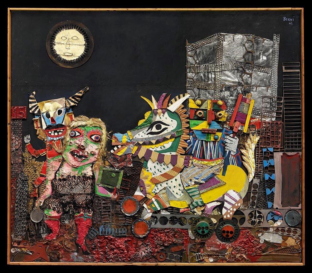 Antonio Berni,  Carnaval de Juanito,  1962, collage, collection of Gail and Louis K. Adler. © José Antonio Berni